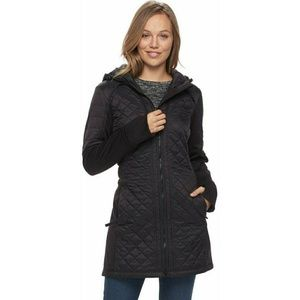 NWT TEK GEAR LONG MIXED MEDIA QUILTED JACKET